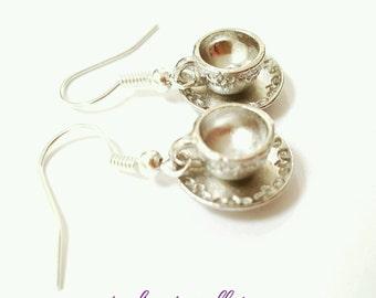 Teacup earrings, Teacup and saucer earrings, tea earrings, cup and saucer earrings, gift for tea lover, gift for coffee shop worker