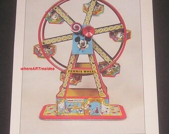 1985 Disneyland Ferris Wheel Illustration, Vintage Book Plate Print, Mechanical Toy Art