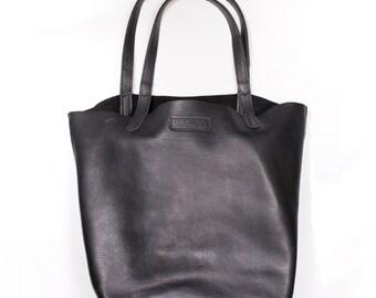 DORNEY HANDMADE Premium Black Grained Real Leather Shoulder Tote Bag