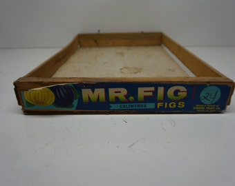 Vintage Mr Fig Wood Crate, California Figs Wooden Crate, Advertising, Graphics, Fruit Crate, Wooden Tray,