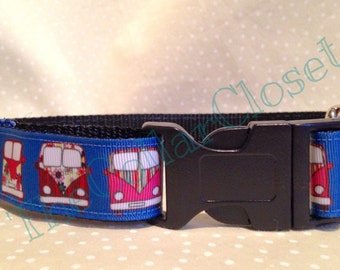 Blue Camper Van Summer Surfer Dog Collar