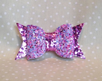 Pink Lilac Mix and Pink Glitter Fun Collar Bow