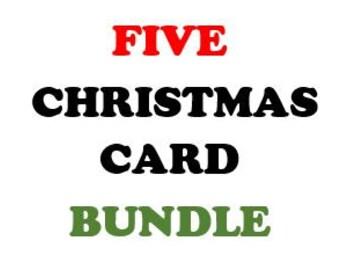 CHRISTMAS CARD Bundle - Five PDF Cards (Digital)