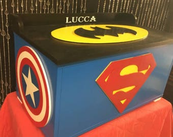 Super hero - toy boxes - super hero decor - girls toy boxes - kids furniture - toy storage  - boys room decor - wooden toy box -