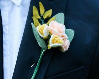 Custom Handmade Felt Flower Wedding Boutonniere