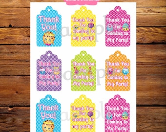 Shopkin Thank You Tags, Loot Bag Tags, Gift Tags, Shopkin Birthday, Decor, Party Supplies, Birthday Party, Digital File