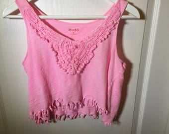 Pink Fringe Top with Lace Detail