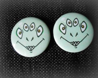 2 Buttons/Pins set 2 1/4 inches : Monster green lizardoid