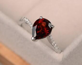 Pear cut garnet ring, engagement ring silver, red gemstone ring, January birthstone ring