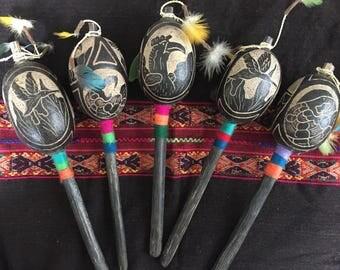 Peruvian Gourd Rattle - Hummingbird, Condor, and Serpent Carvings