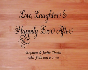 No. 12 Chopping/Bread/Cutting Board - Engraved Wedding Gift - Bride & Grooms Names and Date Personalised 325mm X 220mm Bamboo