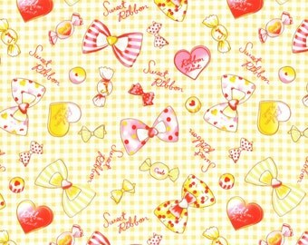 Lecien Japan Nico Nico Land 2016 Cotton Oxford Collection   #40703L-50    Yellow Sweet Ribbons & Bows