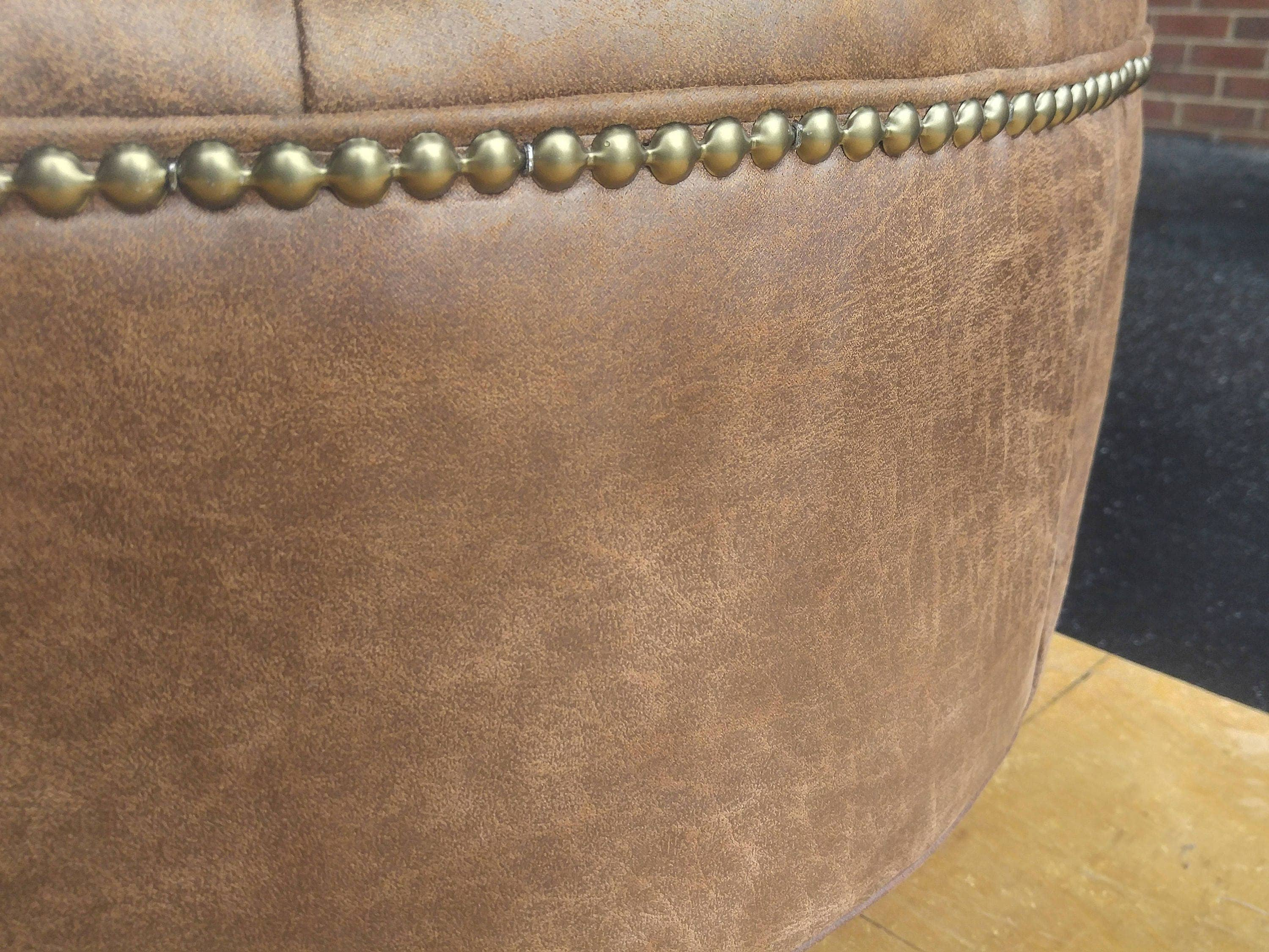 Distressed Vegan Leather Tufted Upholstered Ottoman Footstool Coffee Table Design 59 Inc