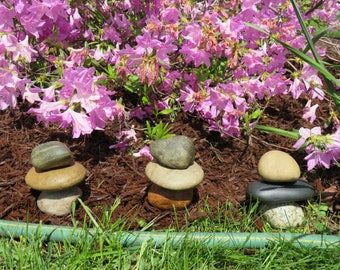 Hose Guides, Stacked Rock Hose Guards, Zen Garden, Rock Cairn, Natural Garden Decor, Lake Michigan Rocks, Stacked Stones