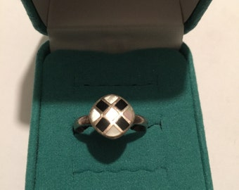 Vintage Sterling Silver Round Checker Board ring Size 9.25