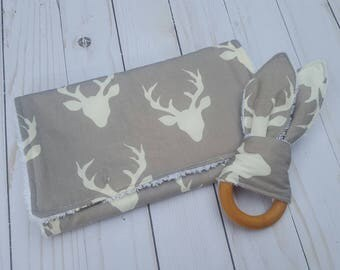 Burp cloth and teething ring gift set- grey and white deer,  baby shower gift, bunny ear, burpcloth, woodland baby, deer antler, camo baby