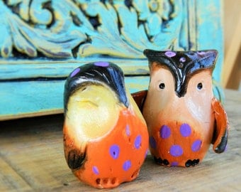 owl polymer clay owl couple cute gift