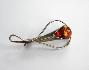 Vintage SILVER 925 cognac AMBER brooch ~~A2672