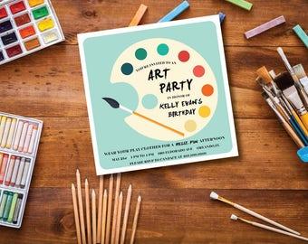 Art Party DIY Printable Child's Birthday Invitation