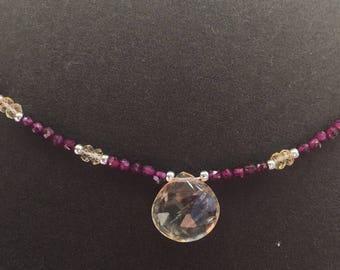 Citrine and garnet necklace