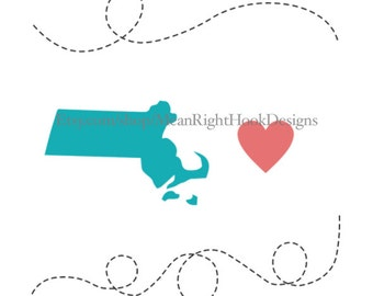 Massachusetts SVG state silhouette, heart svg, and dotted lines INSTANT DOWNLOAD vector files for cutting machines - svg, png, dxf, eps