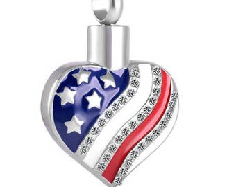 American Heart Urn Necklace Cremation Jewelry Memorial Ashes Pendant Holder