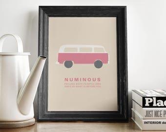 Volkswagen Wall Art - Vintage Camper Sign - Minimalist Poster - Gift For Traveller - RV Camping Decor - World Traveler - Nursery Art
