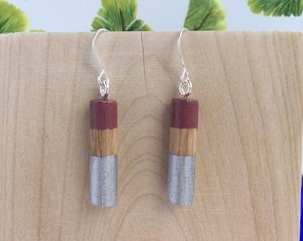 Mauve & Silver Wood Dangle Earrings