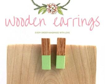 Mint Earrings / Geometric Earrings for Women / Mint Earrings / Post Earrings / Wood Jewelry / Summer Jewelry / Earrings for Her /