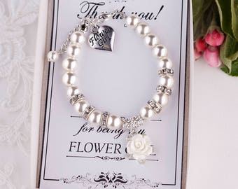 Flower Girl Gift Ideas Flower Girl Jewelry Flower Girl Bracelet Child Bracelet Little Girl Bracelet Ivory Pearl Bracelet will you be my N