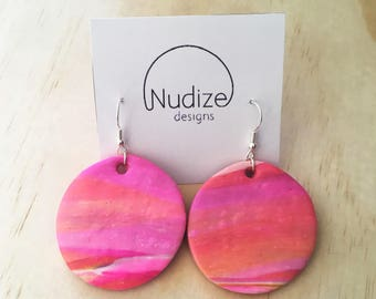 "Handmade statement dangle earrings // gifts for her // ""The sun goes down"""