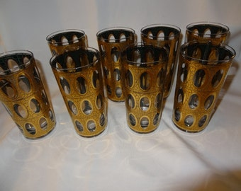Culver Mid Century Highball Glasses, Set of Eight, Pisa, Mad Men Era Barware