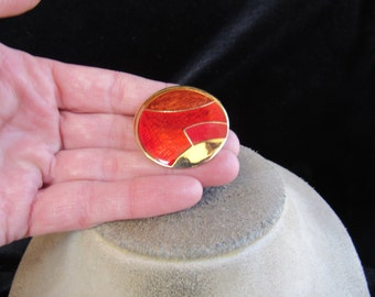 Vintage Brown & Shades Of Red Enameled Pin