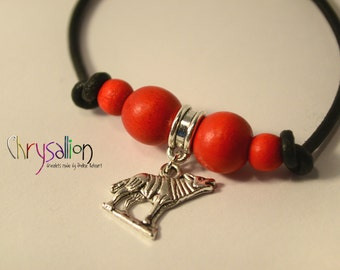Little Red Riding Hood Wolf Charm Bracelet // Red Silver Black ~ Fairy Tale Fable Myth Animal ~ Leather Wood Zinc Alloy Bead ~ Custom-made