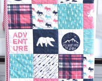 Paris Pink and Mint Moose Adventure quilt, minky quilt, woodland nursery, girl nursery, adventure, modern nursery, pink, navy