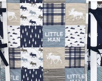 READY TO SHIP -Moose Adventure quilt, minky quilt, woodland nursery, boy nursery, adventure, modern nursery, toddler quilt