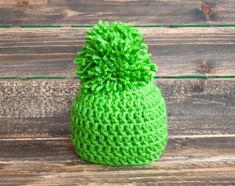 Beanie, Newborn beanie, Green beanie, Beanie with pom, Baby beanie, baby hat, winter baby hat, winter hat, handmade beanie, baby shower gift