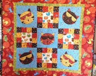 Cool cat quilted wallhanging