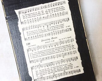 Amazing Grace Vintage Hymn Sign Display