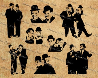 Digital SVG PNG laurel and hardy, stan and ollie, comedy duo, hollywood, clipart, vector, silhouette, instant download