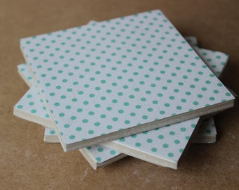 polka dot teal green coasters, set of 4