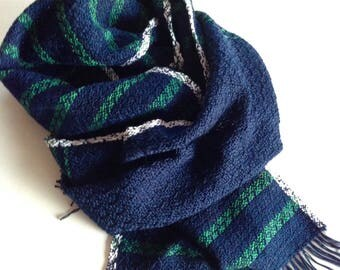 Scarf, cotton. Blue Green, hand-woven. 177 x 25 cm. Short fringes.