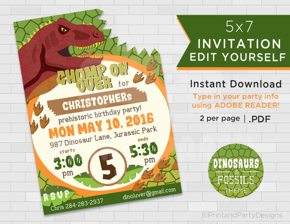 Dinosaur birthday invitations dinosaur invitation dinosaur il570xn solutioingenieria Images