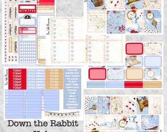 Down the Rabbit Hole Full 6 Page Weekly Kit for the Erin Condren Life Planner || Matte and Vinyl Stickers || Alice in Wonderland Inspired