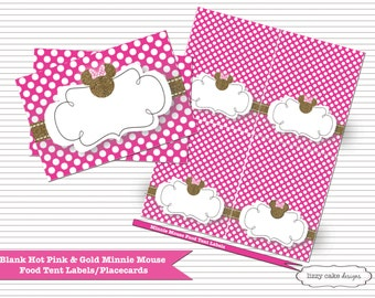 Snap Light Pink Gold Minnie Mouse BLANK Food Tent Labels Photos On