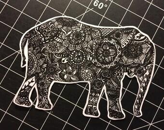 Elephant Zentangle Sticker Decal