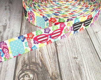"7/8"" Summer ribbon - Flip flop ribbon - Grosgrain ribbon - Sunglasses ribbon - Hawaiian ribbon - Hawaiian flower - Hibiscus ribbon - Flowers"