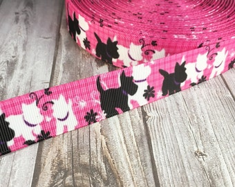 "7/8"" Westie ribbon - Grosgrain ribbon - Scotty ribbon - Pink dog ribbon - Black white pink - West highland  - Dog collar ribbon - DIY collar"