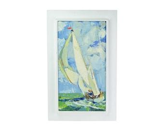 Vintage 1960's Roy Andersen Impressionist Impasto Oil Painting Sailboat Underway