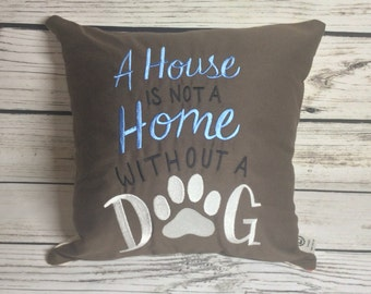 "14x14"" embroidered cushion - Dog pet related MADE TO ORDER"